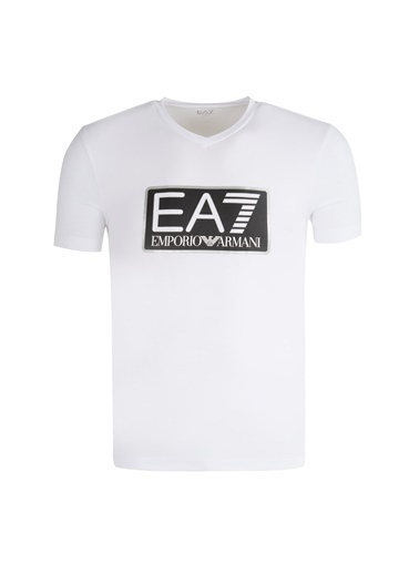 EA7 Emporio Armani Ea7  6Zpt57 Pj03Z 1 V Yaka Kısa Kol Logo Baskılı Pamuk Erkek Tshirt Beyaz
